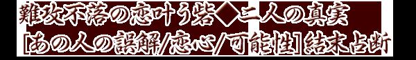 難攻不落の恋叶う砦◆二人の真実[あの人の誤解/恋心/可能性]結末占断