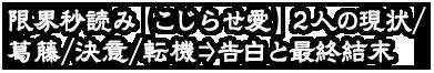 限界秒読み【こじらせ愛】2人の現状/葛藤/決意/転機⇒告白と最終結末