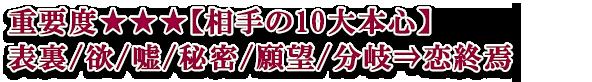 重要度★★★【相手の10大本心】表裏/欲/嘘/秘密/願望/分岐⇒恋終焉