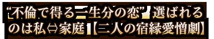"""""""不倫で得る一生分の恋""""選ばれるのは私⇔家庭【二人の宿縁愛憎劇】"""